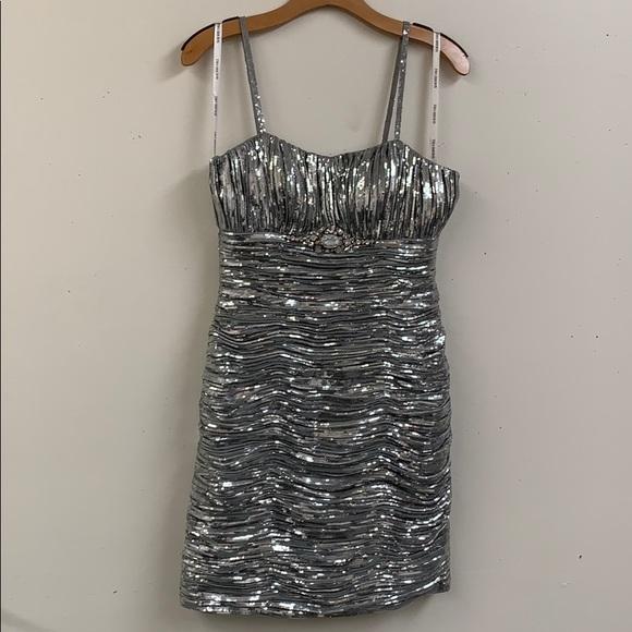 Sherri Hill Dresses & Skirts - Sherri Hill Silver Sequin Short Dress Size 8